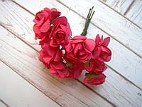 Букет бумажных роз, 12 шт, темно-розовые