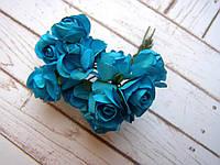 Букет бумажных роз, 12 шт, синие