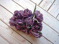 Букет бумажных роз, 12 шт, сиреневые