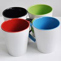 Чашка латте цветная внутри и ручка 330 мл(оранжевый )