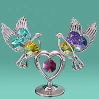 """Фигурка Swarovski """"2 голубя на сердце"""" цветные кристаллы в серебре. Подарок на свадьбу"""