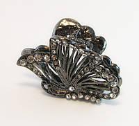 Заколка для волос Бабочка крабик бижутерный металл-6,5 см., фото 1