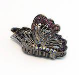 Заколка для волос Бабочка крабик бижутерный металл-6,5 см., фото 2