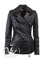 Черная кожаная куртка на молнии, фото 1