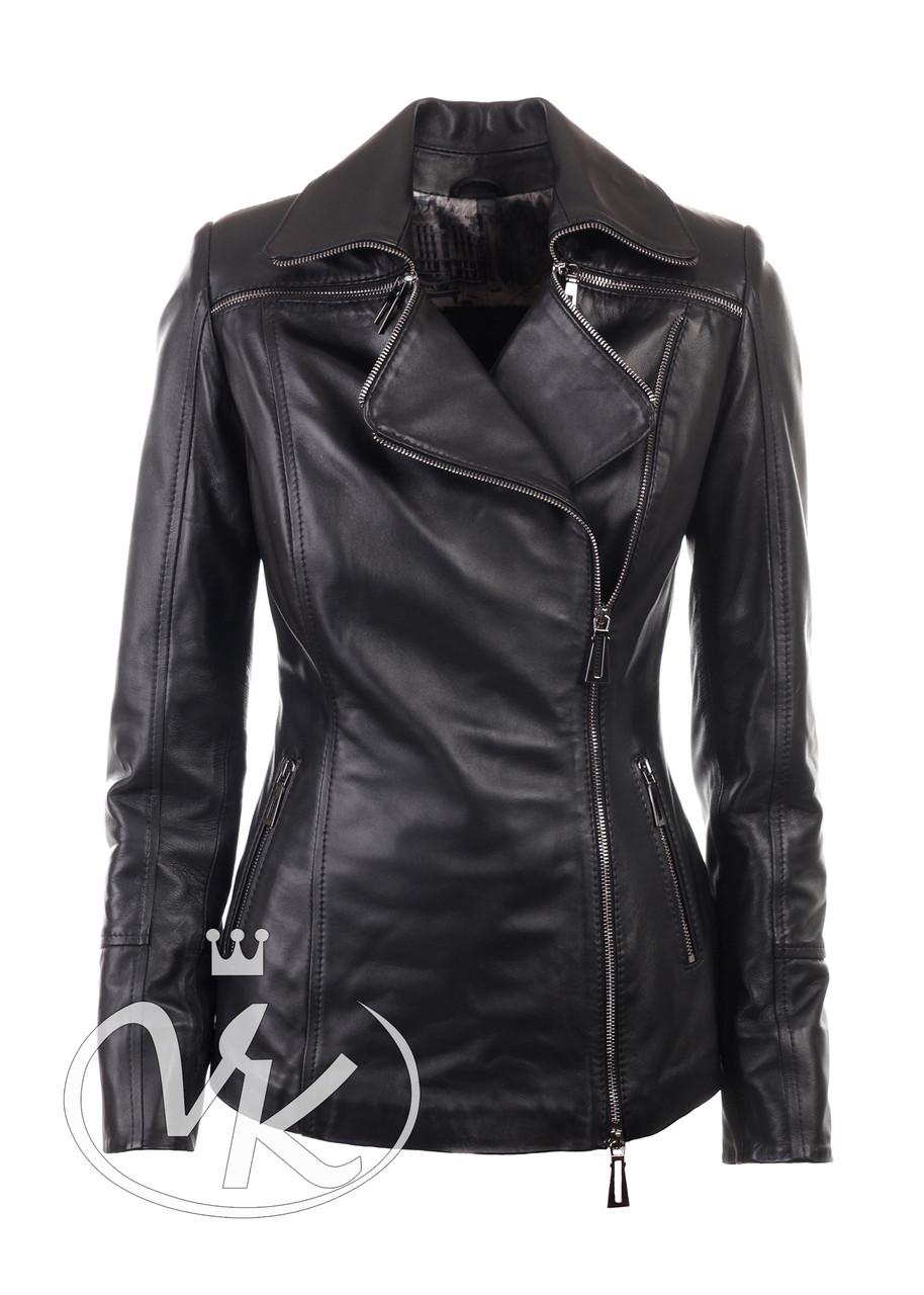 Женская кожаная куртка из натуральной кожи черная (Арт. DG201)