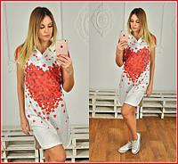 Платье туника рубашечный воротник Сердечки в сердце