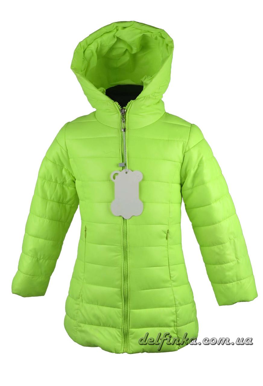 Куртка удлиненная для девочек  демисизонная 3-7 лет цвет лимонная, фото 1
