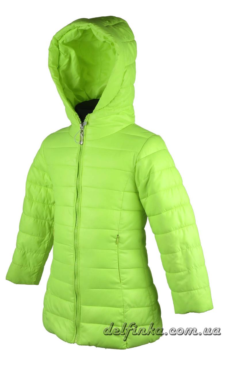 Куртка удлиненная для девочек  демисизонная 3-7 лет цвет лимонная, фото 2