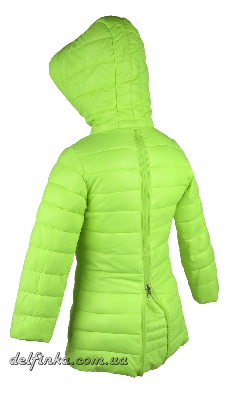Куртка удлиненная для девочек  демисизонная 3-7 лет цвет лимонная, фото 3