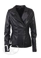 Черная кожаная куртка классика, фото 1