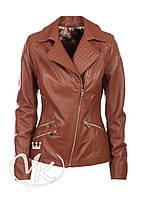 Рыжая кожаная куртка с косой молнией, фото 1