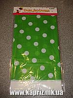 Скатерть ( 110 см*180 см) в горошек (зеленая)