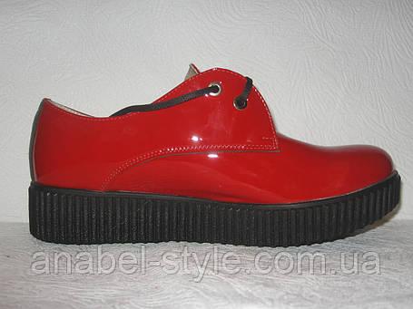 Туфли-оксфорды женские на толстой подошве лаковые красные, фото 2