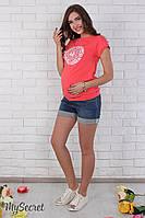 """Джинсовые шорты для беременных """"Brianna"""", темно-синие с потертостями*"""