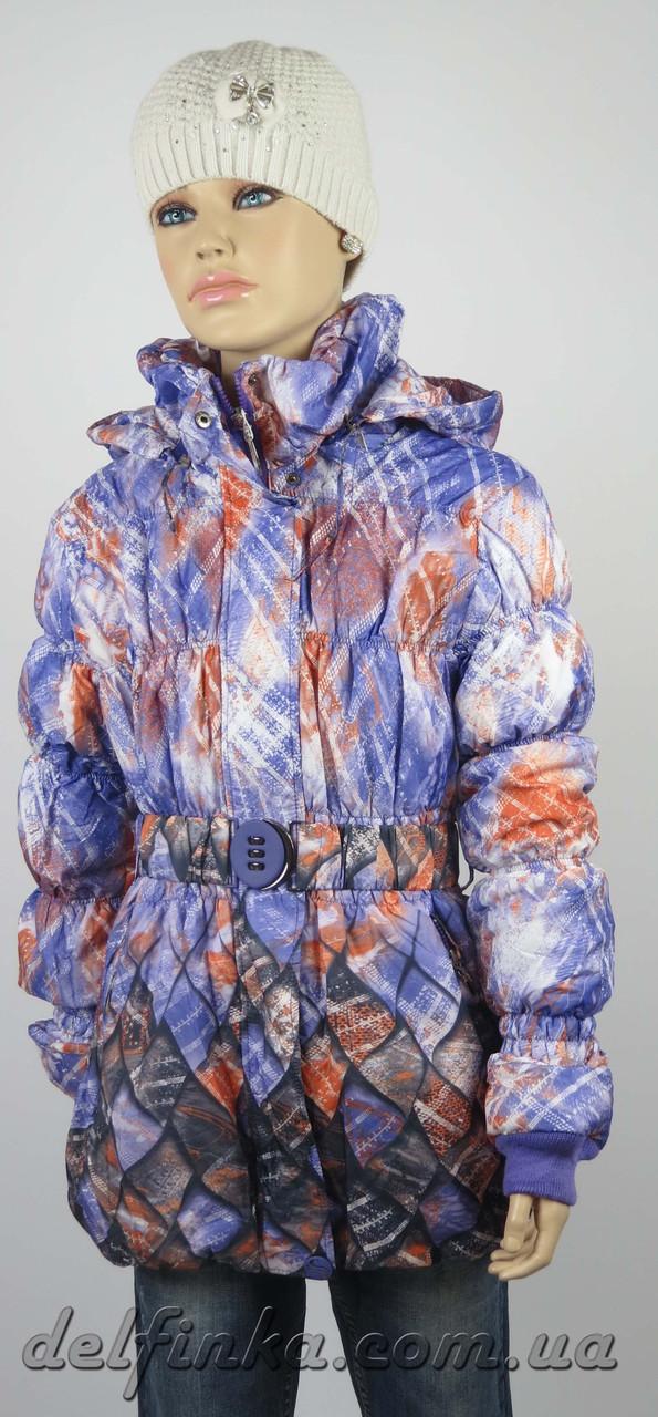 Куртка удлиненная весна-осень размеры 128-146 ( 7-12 лет ) цвет сиреневый, фото 1