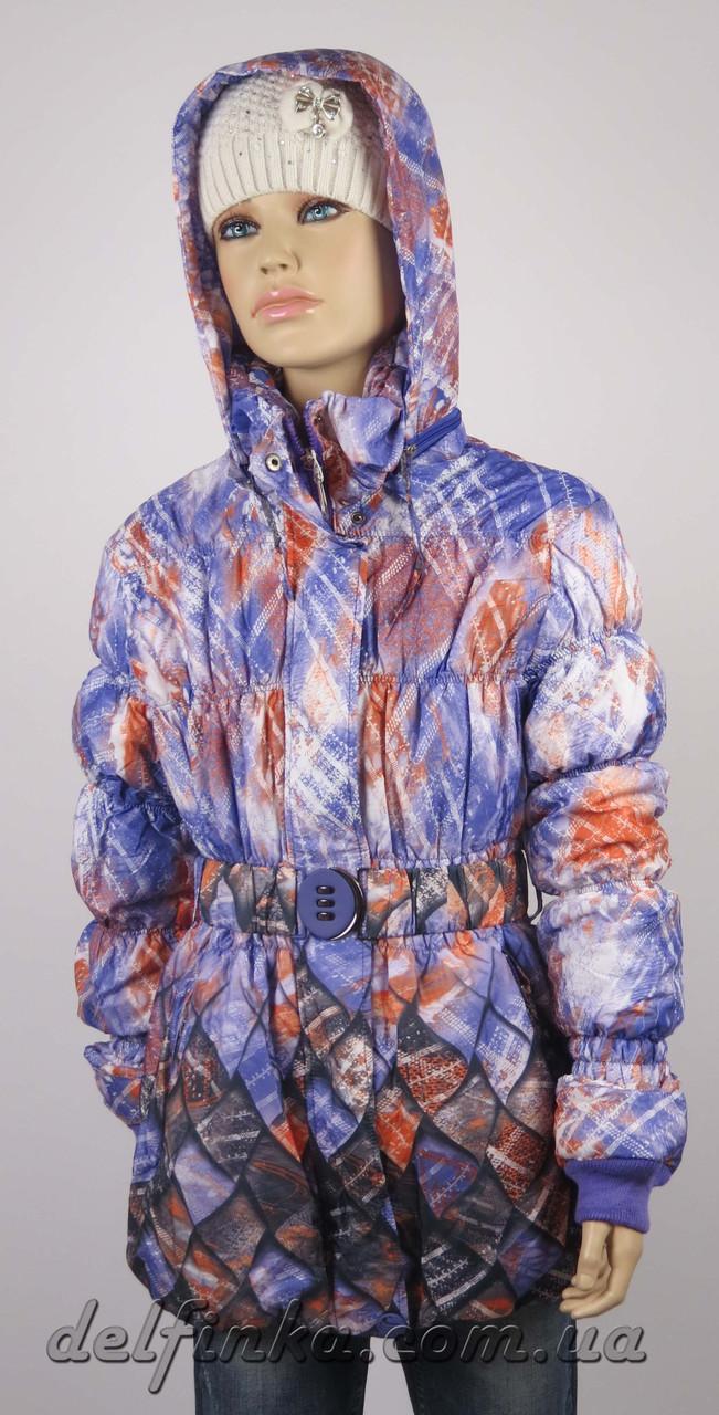 Куртка удлиненная весна-осень размеры 128-146 ( 7-12 лет ) цвет сиреневый, фото 2