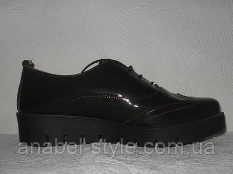 Туфли броги женские стильные лаковая кожа шоколадного цвета, фото 2