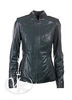 Зеленая кожаная куртка на молнии, фото 1
