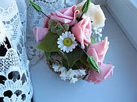 Флористическая композиция  «Розовая улитка». Холодный фарфор. Мастер: Пашкова В.