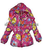 Куртка удлиненная для девочек   демисизонная 2-5 лет цвет сиреневый