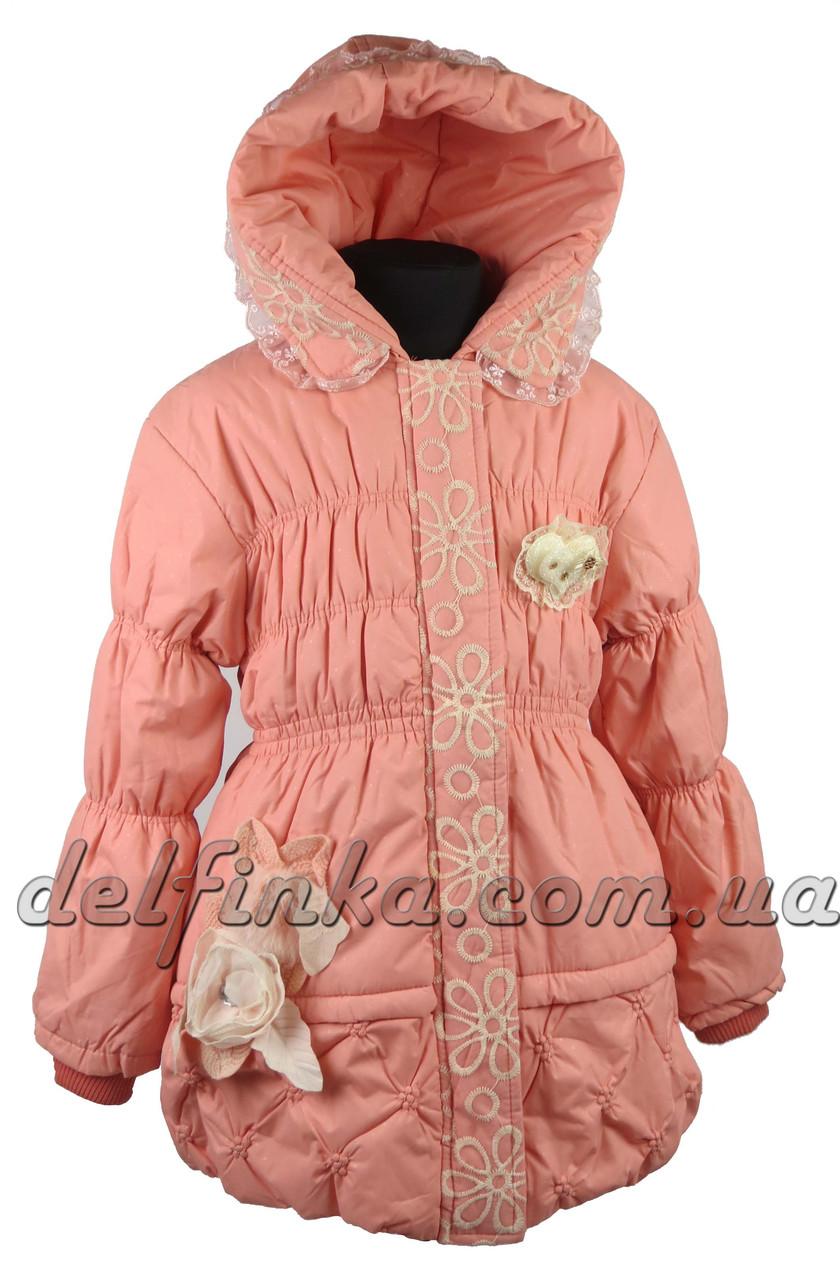 Пальто  сердце-перо  размеры 110-140 (5-10 лет) цвет персик, фото 1