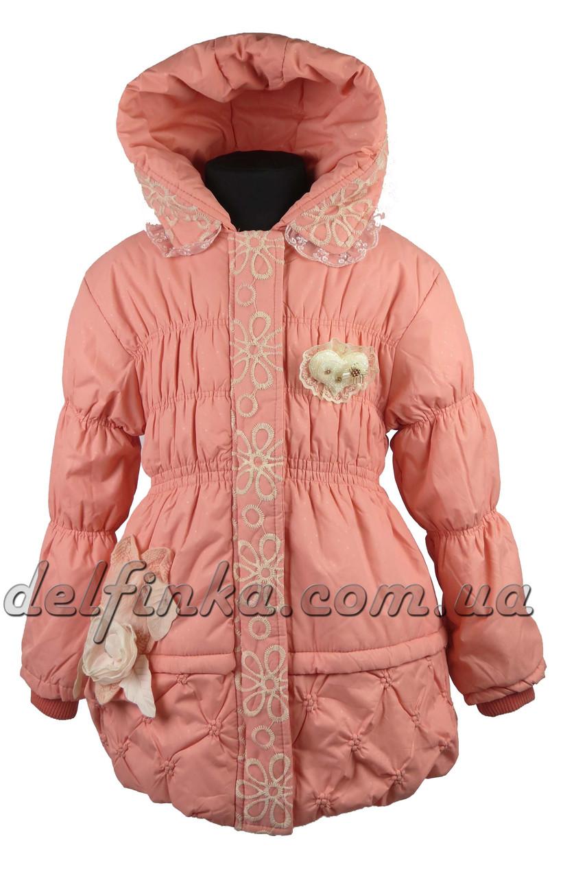 Пальто  сердце-перо  размеры 110-140 (5-10 лет) цвет персик, фото 2