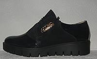 Туфли броги женские стильные замшевые тёмно-синего цвета