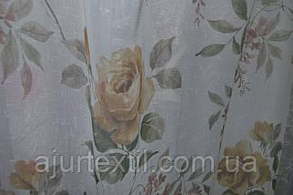 "Тюль лен ""Роза"" коричневая, фото 3"