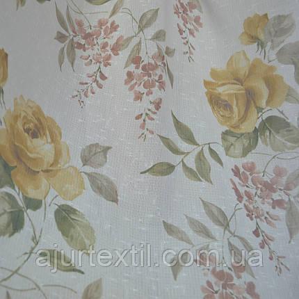 "Тюль лен ""Роза"" коричневая, фото 2"