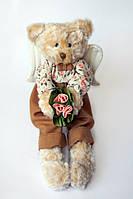 Мишка Мальчик Добрый Ангел Меховый медвежонок ручной работы с крыльями с удлененными лапками в платьице