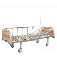 Кровать медицинская механическая на колесах,с поручнями  4 секции OSD