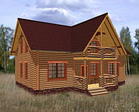 Дом из дикого сруба 8,2x7,2