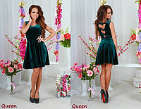 Модное бархатное зелёное платье короткий рукав. Арт-5352/53