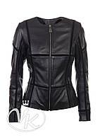 Черная кожаная куртка с замшей