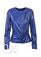 Синяя кожаная куртка косуха, фото 1