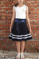 Школьная юбка плиссе-гофре для девочки-подростка синий габардин