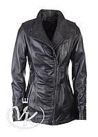 Удлиненная кожаная куртка косуха на молнии