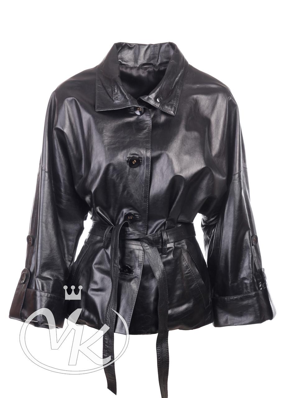 Кожаная куртка кимоно черная под пояс (Арт. NM201)