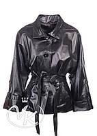 Черная кожаная куртка кимоно