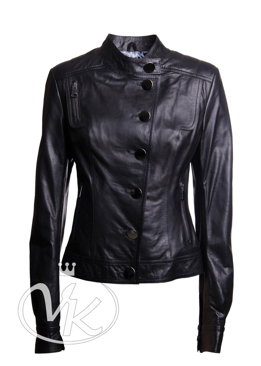 Короткая кожаная куртка черная женская 46 размера (Арт. VK200)