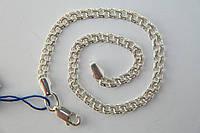 Браслет из серебра 925*.Ручное плетение Бисмарк Плоский