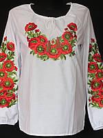 Женская блуза с вышитыми маками