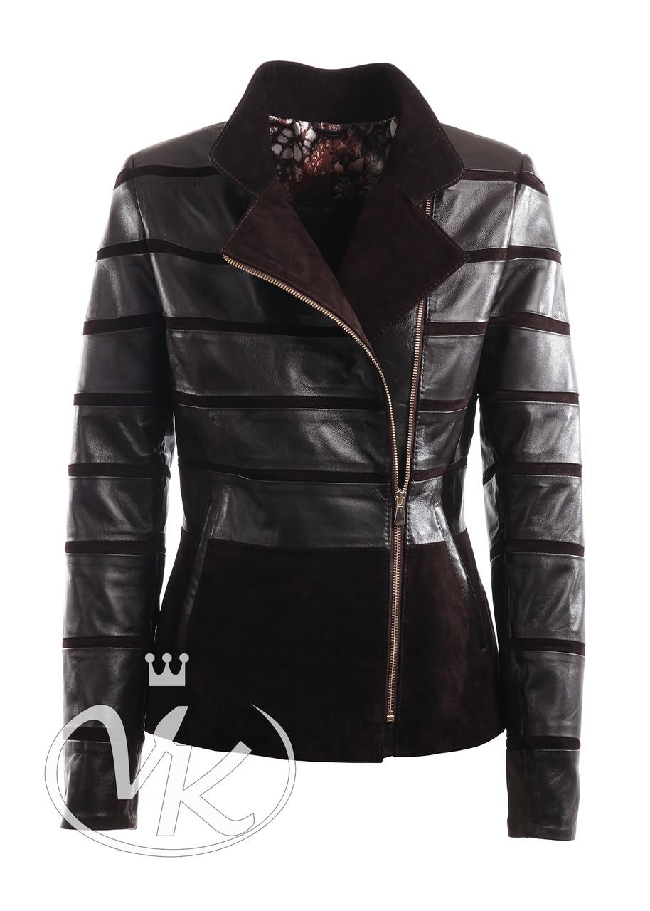 Кожаная куртка коричневая короткая женская (Арт. LAN221)