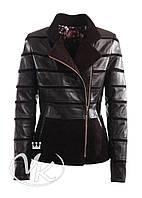 Кожаная куртка коричневая короткая женская (Арт. LAN-725)