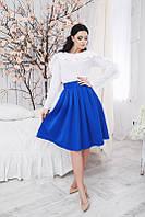 Модная коттоновая юбка синяя по колена. Арт-5360/54