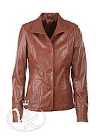 Коричневая кожаная куртка пиджак на пуговицах, фото 1