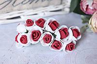 Розочки латекс (ФОМ) 2 см диаметр мини 144 шт. оптом бело-бордового цвета на стебле, фото 1