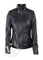 Черная кожаная женская куртка на молнии