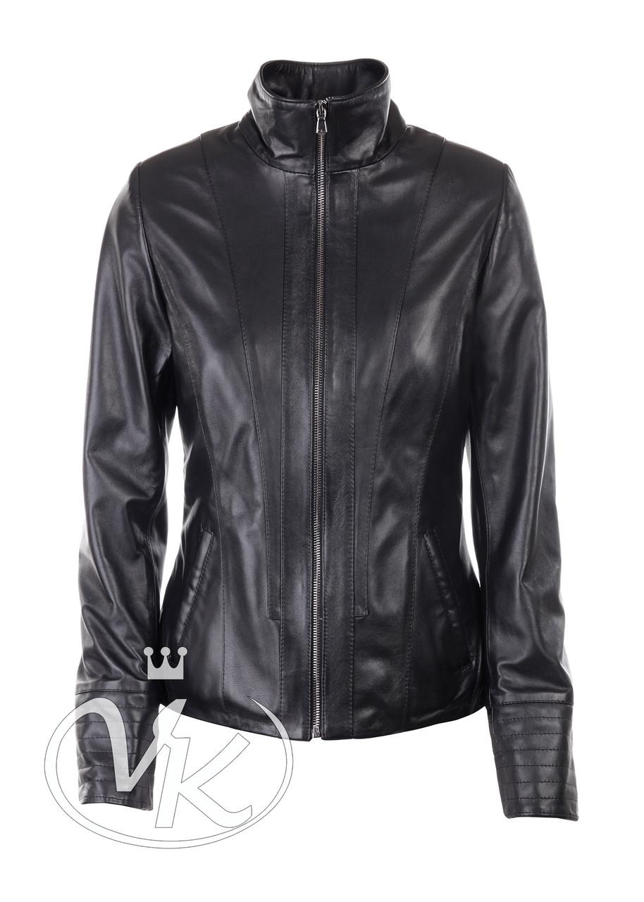 Черная кожаная женская куртка на молнии - Интернет магазин кожаных курток и дубленок VK-Fason в Виннице