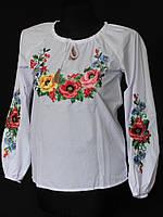 Молодежная блузка женская с вышитыми мальвами